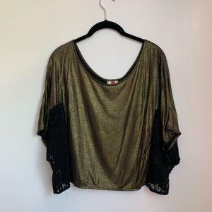 Free people gold metallic black lace crop top M